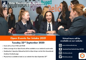2020 09 21 13 32 37 Ortu HSB Open Evening Advert 2020 2021 297x210 web version2